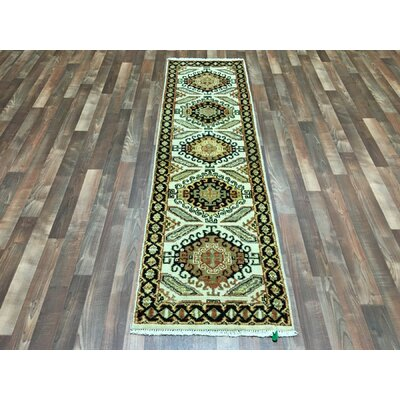 One-of-a-Kind Exmore Hand-Woven Wool Beige Area Rug