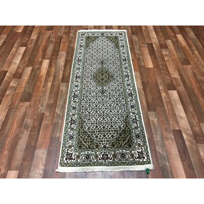 One-of-a-Kind Bedouet Mahi Hand-Woven Wool/Silk Green Area Rug
