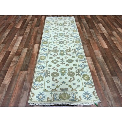 One-of-a-Kind Emaline Oushak Hand-Woven Wool Blue/Beige/Gold Area Rug