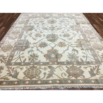One-of-a-Kind Emalina Oushak Hand-Woven Wool Ivory Area Rug