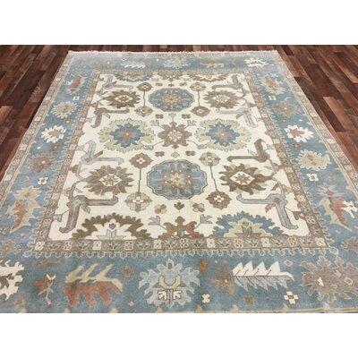 One-of-a-Kind Pacetti Oushak Hand-Woven Wool Blue/Brown Area Rug