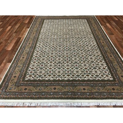 One-of-a-Kind Creange Hand-Woven Wool Green/Beige Area Rug