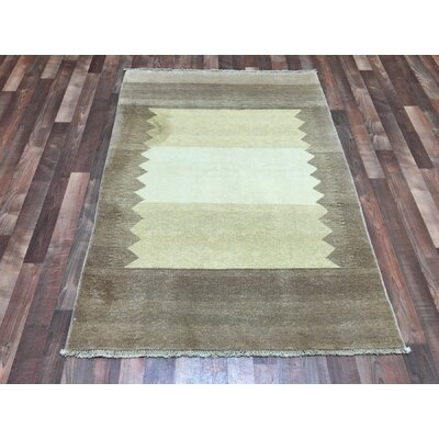 One-of-a-Kind Evan Gabbeh Hand-Woven Wool Beige/Brown Area Rug