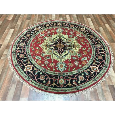 One-of-a-Kind Forest City Serapi Hand-Woven Wool Black/Gold/Red Area Rug