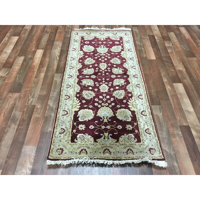One-of-a-Kind Anjo Hand-Woven Wool Burgundy Area Rug