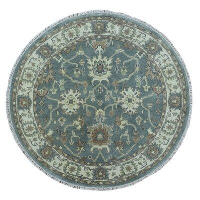 Favazza Oushak Oriental Hand-Woven Wool Blue Area Rug