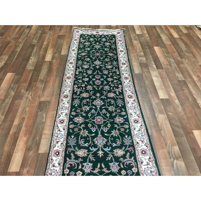 One-of-a-Kind Aca Hand-Woven Wool Green Area Rug