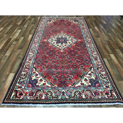 One-of-a-Kind Estrella Hamadan Wide Hand-Woven Wool Red Area Rug