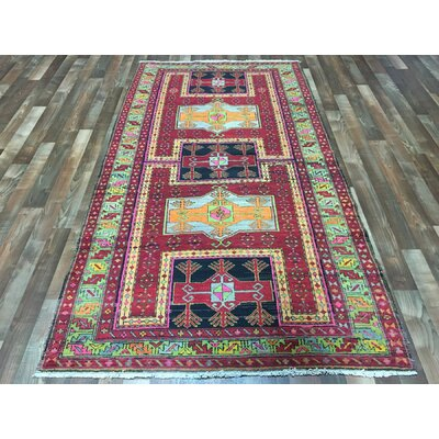 One-of-a-Kind Estrella Kazak Wide Hand-Woven Wool Red Area Rug