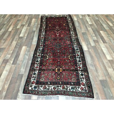 One-of-a-Kind Estrella Hamadan Hand-Woven Wool Red Area Rug