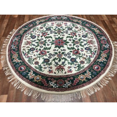 One-of-a-Kind Aca Oriental Round Hand-Woven Wool Ivory Area Rug