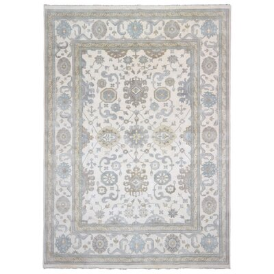 One-of-a-Kind Oleanna Oushak Hand-Woven Wool Beige/Blue Area Rug