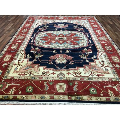 One-of-a-Kind Forrester Serapi Hand-Woven Wool Red/Blue/Beige Area Rug