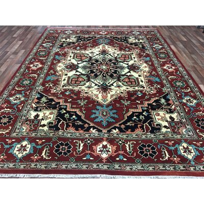 One-of-a-Kind Fortney Serapi Hand-Woven Wool Black/Beige/Red Area Rug
