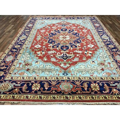 Foxhill Serapi Hand Woven Wool Blue/Red Area Rug