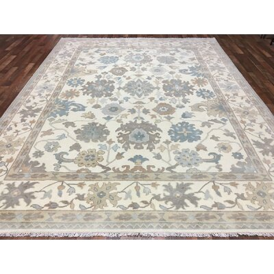 One-of-a-Kind Avanna Oushak Hand-Woven Wool Beige Area Rug