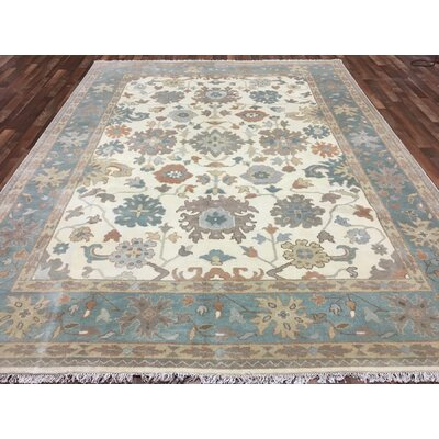 One-of-a-Kind Isabeth Oushak Hand-Woven Wool Blue Area Rug
