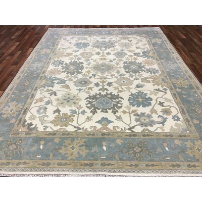 One-of-a-Kind Savilla Oushak Hand-Woven Wool Blue Area Rug