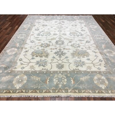 One-of-a-Kind Finlee Oushak Hand-Woven Wool Blue Area Rug
