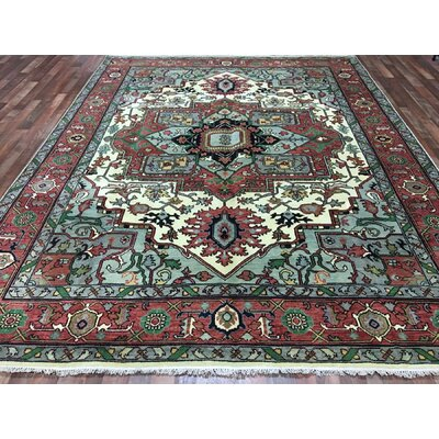 One-of-a-Kind Frissell Serapi Hand-Woven Wool Gray/Red Area Rug