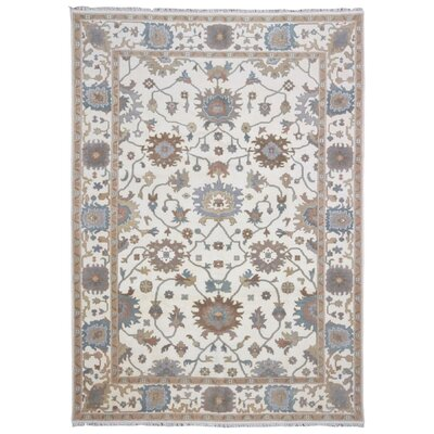 One-of-a-Kind Dariana Oushak Hand-Woven Wool Beige/Blue Area Rug