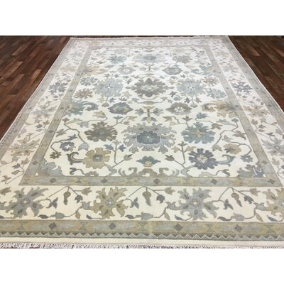 One-of-a-Kind Darianna Oushak Hand-Woven Wool Beige/Blue Area Rug