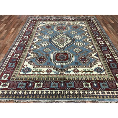 One-of-a-Kind Furiani Kazak Hand-Woven Wool Blue/Red Area Rug