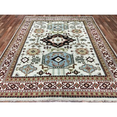One-of-a-Kind Gable Mountain Kazak Hand-Woven Wool Beige/Blue/Black Area Rug