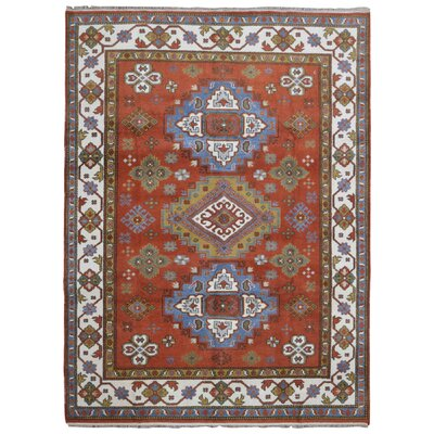 One-of-a-Kind Galen Kazak Hand-Woven Wool Burnt Orange/Blue Area Rug