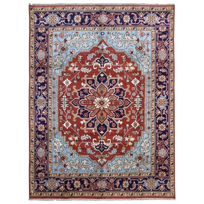 One-of-a-Kind Ganley Serapi Hand-Woven Wool Blue/Red Area Rug