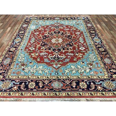 One-of-a-Kind Gannet Serapi Hand-Woven Wool Blue/Red Area Rug