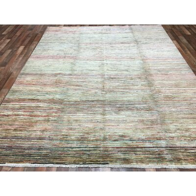 One-of-a-Kind Gardena Hand-Woven Wool Green/Red Area Rug