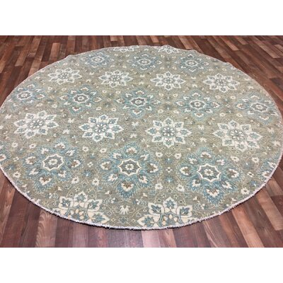 One-of-a-Kind Anjo Round Hand-Woven Wool Gray Area Rug