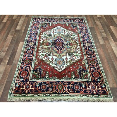 One-of-a-Kind Gargan Serapi Hand-Woven Wool Navy/Ivory/Red Area Rug