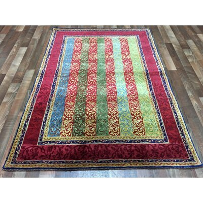 One-of-a-Kind Garman Modern Design Hand-Woven Wool Red/Green/Blue Area Rug