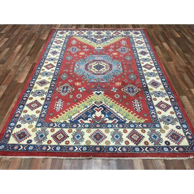 One-of-a-Kind Evan Kazak Hand-Woven Wool Red Area Rug
