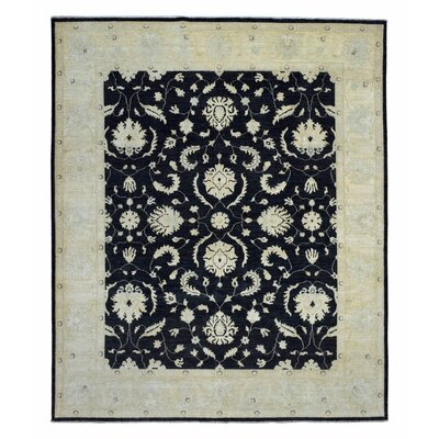 One-of-a-Kind Noi Peshawar Large Hand-Woven Wool Black Area Rug