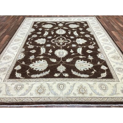 One-of-a-Kind Noi Peshawar Large Hand-Woven Wool Brown Area Rug