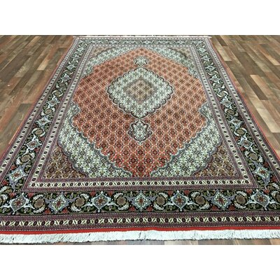 One-of-a-Kind Estrella Mahi Tabriz Hand-Woven Wool Red Area Rug