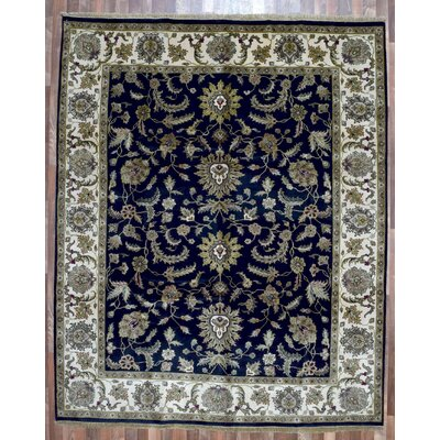 One-of-a-Kind Mica Oriental Hand-Woven Wool Navy Area Rug