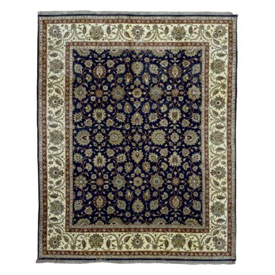 One-of-a-Kind Penni Traditional Oriental Hand Woven Wool Navy Area Rug