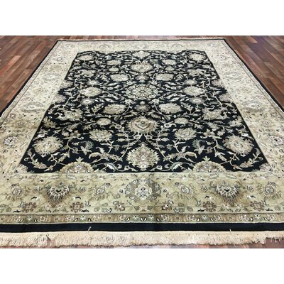 One-of-a-Kind Slagen Traditional Hand Woven Wool Navy/Black Area Rug