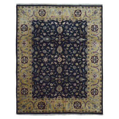 Slagen Oriental Hand Woven Rectangle Wool Navy Area Rug