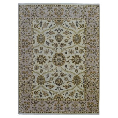 One-of-a-Kind Pearle Traditional Oriental Hand Woven Rectangle Wool Beige Area Rug