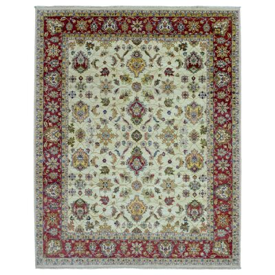 One-of-a-Kind Pearle Oriental Hand Woven Rectangle Wool Beige Area Rug