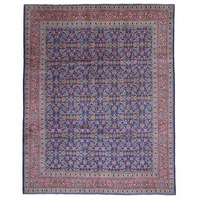 One-of-a-Kind Secondo Persian Antique Kashan Hand Woven Wool Blue Area Rug
