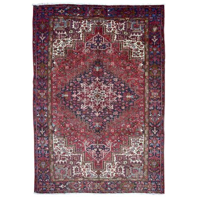 One-of-a-Kind Witsell Persian Antique Heriz Oriental Hand Woven Wool Red Area Rug