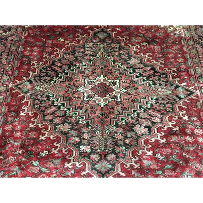 One-of-a-Kind Macaro Persian Antique Heriz Oriental Hand Woven Wool Red Area Rug
