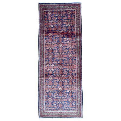 One-of-a-Kind Acarlar Persian Antique Hamadan Hand Woven Wool Red/Blue Area Rug