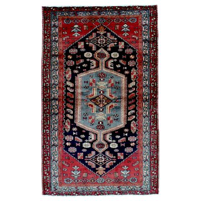 One-of-a-Kind Adahy Persian Antique Hamadan Oriental Hand Woven Wool Red/Blue/Black Area Rug
